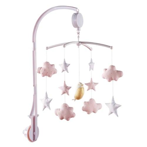 afbeelding van Wit en roze muziekmobiel voor baby