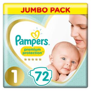 afbeelding van Pampers Premium Protection Luiers Maat 1 (2-5 kg) 72 stuks